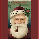 Christmas Greeting-Santa with Pipe by Yesteryears