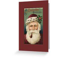 Christmas Greeting-Santa with Pipe Greeting Card
