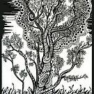 Windblown, A Tree Ink Drawing by Danielle Scott