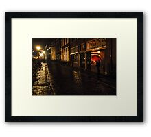Night Lights of Utrecht. Orange Umbrella. Netherlands Framed Print