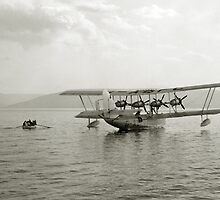 Flying Boat - Sea of Galilee near Tiberias - 1931 by Doug Heckaman