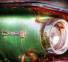 Dodge Dart 440 vintage abandoned green car and chrome headlight by jemvistaprint