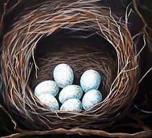 Bird Nest realistic animal art oil painting by LindaAppleArt