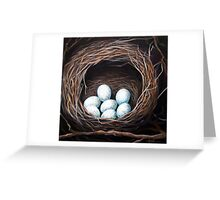 Bird Nest realistic animal art oil painting Greeting Card
