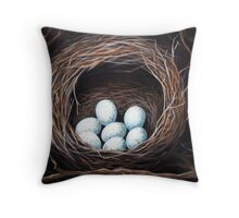 Bird Nest realistic animal art oil painting Throw Pillow