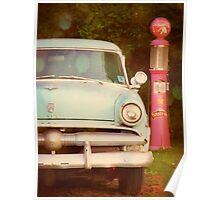Light Blue Vintage Ford and Old Gas Pump photograph Poster