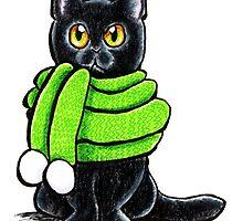 Black Cat in Wooly Green Scarf by offleashart