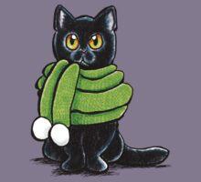 Black Cat in Wooly Green Scarf Kids Tee