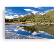 Mountain Reflection in Partially Frozen Lake Metal Print