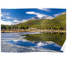 Mountain Reflection in Partially Frozen Lake Poster