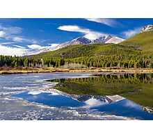 Mountain Reflection in Partially Frozen Lake Photographic Print
