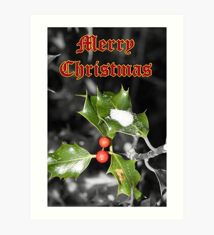 Merry Christmas - Holly Art Print