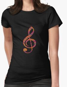 Psychedelic Music note 4 Womens Fitted T-Shirt