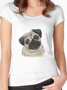 Pug Portrait Women's Fitted Scoop T-Shirt