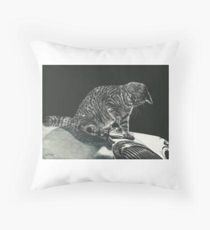 Cool Cat, Classic Car! Throw Pillow