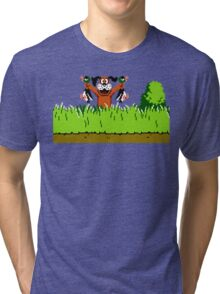 Duck Hunt Dog with 2 Ducks Tri-blend T-Shirt