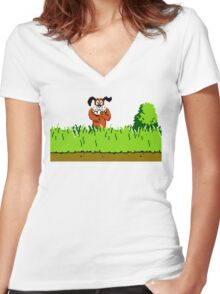 Duck Hunt Dog laughing Women's Fitted V-Neck T-Shirt