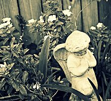 Garden Angel - Black and White by nikkimj19