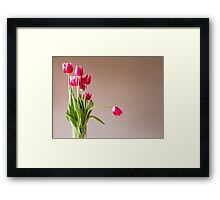 Glass vase with bunch of pink tulips Framed Print
