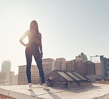 Black Fashion Model Posing on Rooftop by visualspectrum