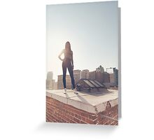 Black Fashion Model Posing on Rooftop Greeting Card