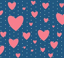 Romantic Vintage Pink Hearts Print by bardenne