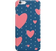 Romantic Vintage Pink Hearts Print iPhone Case/Skin