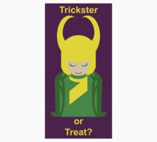 Trickster or Treat? (Sticker with Purple Background) by Kellyanne