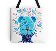 Hiding Place - Rondy the Elephant Sitting In a Tree Tote Bag