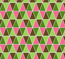 Watermelon Colors Geometric Triangle Pattern by destei