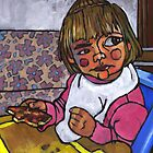 Baby with Pizza by Douglas Simonson