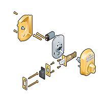 Door lock (exploded view) Photographic Print
