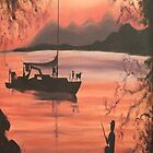 Fishing at Sunset in Massachusetts by Suzanne Marie Leclair by LeclairArt