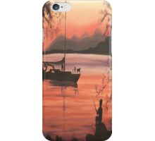 Fishing at Sunset in Massachusetts by Suzanne Marie Leclair iPhone Case/Skin