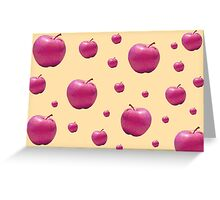 Quirky Retro Pop Pink Apples Print Greeting Card