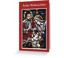 Stained Glass, Red Holy Family in German Greeting Card