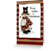 Sister Snowman Black Hat  Greeting Card