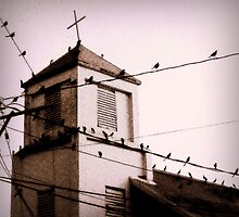 Church of Crooked Cross and Crows by paintingsheep