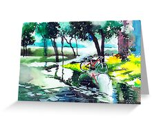 Cycle in puddle Greeting Card