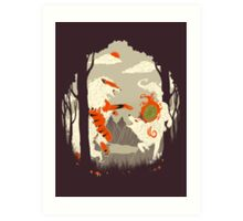 Great Wolves of Fire (Featured on Teefury) Art Print