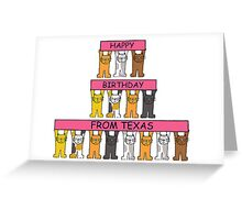 Cats Happy Birthday from Texas Greeting Card