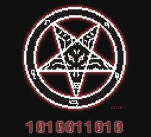 8 Bit Baphomet Pentagram  One Piece - Long Sleeve
