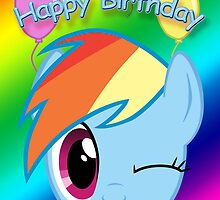 Rainbow Dash Birthday Card - Postcard My Little Pony by FalakTheWolf