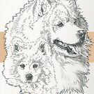 Samoyed Father & Son by BarbBarcikKeith