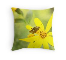 Little Butterfly on Bright Yellow Flower Throw Pillow