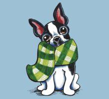 Boston Terrier Happy Plaid Scarf Kids Clothes
