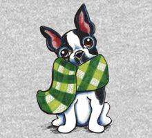 Boston Terrier Happy Plaid Scarf One Piece - Short Sleeve