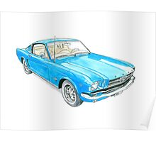 65 Mustang Fastback Poster