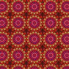Mandala of Cocktail Straws in Fuschia, Ochre and Red by taiche