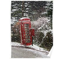Red Phone Box in the Snow Poster